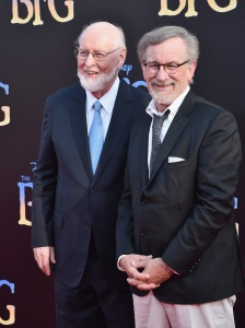 "HOLLYWOOD, CA - JUNE 21:  Composer John Williams (L) and director Steven Spielberg arrive on the red carpet for the US premiere of Disney's ""The BFG,"" directed and produced by Steven Spielberg. A giant sized crowd lined the streets of Hollywood Boulevard to see stars arrive at the El Capitan Theatre. ""The BFG"" opens in U.S. theaters on July 1, 2016, the year that marks the 100th anniversary of Dahl's birth, at the El Capitan Theatre on June 21, 2016 in Hollywood, California.  (Photo by Alberto E. Rodriguez/Getty Images for Disney) *** Local Caption *** John Williams; Steven Spielberg"