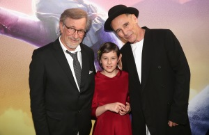 """Director Steven Spielberg, actress Ruby Barnhill and actor Mark Rylance arrive on the red carpet for the US premiere of Disney's """"The BFG,"""" directed and produced by Steven Spielberg. A giant sized crowd lined the streets of Hollywood Boulevard to see stars arrive at the El Capitan Theatre. """"The BFG"""" opens in U.S. theaters on July 1, 2016, the year that marks the 100th anniversary of Dahl's birth, at the El Capitan Theatre on June 21, 2016 in Hollywood, California.  (Photo by Jesse Grant/Getty Images for Disney) *** Local Caption *** Steven Spielberg; Ruby Barnhill; Mark Rylance"""