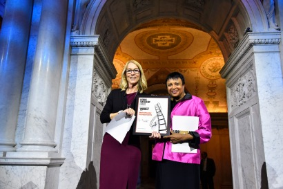 """WASHINGTON, DC - JUNE 20: (L-R) Mary Walsh, Managing Director of the Disney Animation Research Library, accepting the National Film Registry Certificate from Librarian of Congress Dr. Carla Hayden at Disney's """"Cinderella"""" Library of Congress National Film Registry Ball at The Library of Congress on June 20, 2019 in Washington, DC. (Photo by Kris Connor/Getty Images for Disney)"""