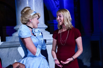 """WASHINGTON, DC - JUNE 20: (L-R) Cinderella and Mary Walsh, Managing Director of the Disney Animation Research Library, at Disney's """"Cinderella"""" Library of Congress National Film Registry Ball at The Library of Congress on June 20, 2019 in Washington, DC. (Photo by Kris Connor/Getty Images for Disney)"""