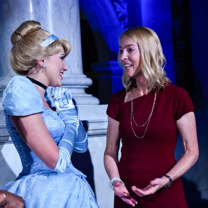 "WASHINGTON, DC - JUNE 20: (L-R) Cinderella and Mary Walsh, Managing Director of the Disney Animation Research Library, at Disney's ""Cinderella"" Library of Congress National Film Registry Ball at The Library of Congress on June 20, 2019 in Washington, DC. (Photo by Kris Connor/Getty Images for Disney)"