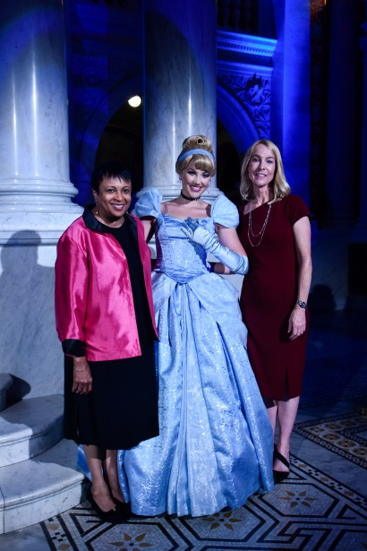 """WASHINGTON, DC - JUNE 20: (L-R) Librarian of Congress Dr. Carla Hayden, Cinderella, and Mary Walsh, Managing Director of the Disney Animation Research Library, attend Disney's """"Cinderella"""" Library of Congress National Film Registry Ball at The Library of Congress on June 20, 2019 in Washington, DC. (Photo by Kris Connor/Getty Images for Disney)"""